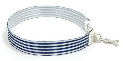 Real Navy And White Pinstripe Ribbon Bracelet For ALS