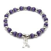 Periwinkle Beaded Awareness Ribbon Stretch Bracelet