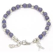 Periwinkle Beaded Awareness Ribbon Bracelet