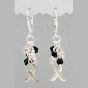 Pink And Black Crystal Cluster Ribbon Earrings
