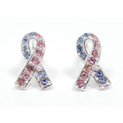 Pink And Blue CZ Studded Awareness Ribbon Earrings