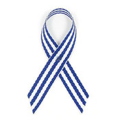 Navy And White Pinstripe Ribbon Pin For ALS