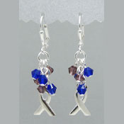 Purple And Blue Crystal Cluster Ribbon Earrings
