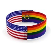 Rainbow American Flag Ribbon Bracelet