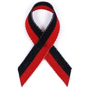 Red And Black Grosgrain Awareness Ribbon Pin