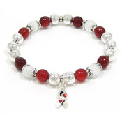 Red White Red Awareness Ribbon Beaded Bracelet
