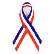 Red White And Blue Grosgrain Awareness Ribbon Pin