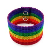 Wide Rainbow Ribbon Cuff Bracelet