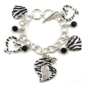 Zebra Awareness Ribbon Hearts Bracelet