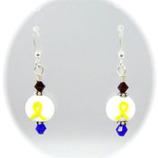 Patriotic Yellow Ribbon Lampwork Earrings