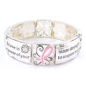 Believe In The Power Pink Ribbon Stretch Cuff