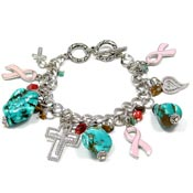Chunky Pink Ribbon And Turquoise Charm Bracelet