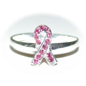 CZ Studded Pink Ribbon Ring