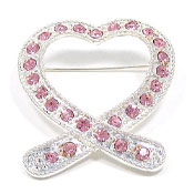 Heart Shaped Pink Ribbon Rhinestone Pin