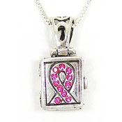 Sterling Pink Crystal Ribbon Prayer Box Necklace