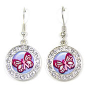 Pink Ribbon Butterfly Earrings