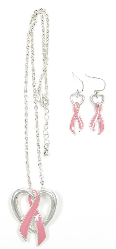Pink Ribbon Earrings And Necklace Jewelry Set