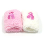 Pink Ribbon Terry Cloth Wristbands