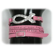 Pink Ribbon Leather Wrap Bracelet