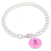 Pink Custom Colors Of Support Round Charm Bracelet