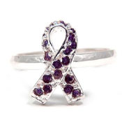 Purple CZ Ribbon Ring