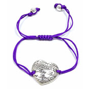 Purple Adjustable Love Heart Bracelet