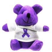 Purple Ribbon Teddy Bear