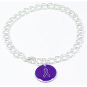 Purple Custom Colors Of Support Round Charm Bracelet