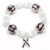 Purple Crystal Awareness Ribbon Lampwork Bracelet