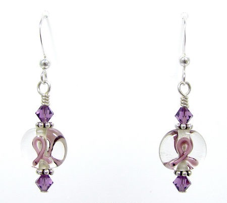 Purple Ribbon Lampwork Earrings