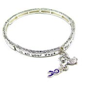 Purple Ribbon Stackable Bracelet