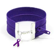Wide Purple Ribbon Zipper Bracelet