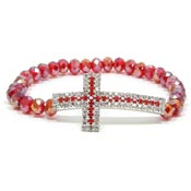 Red And White Crystal Cross Beaded Bracelet