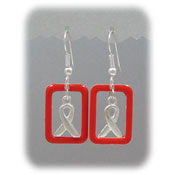 Red Ribbon Window Earrings