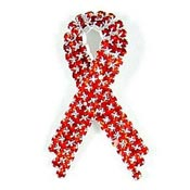 Super Sparkly Red Ribbon Pin