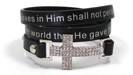 Black John 3 16 Cross Wrap Bracelet