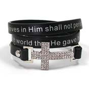 Black John 3:16 Cross Wrap Bracelet