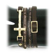 Brown Serenity Prayer Leather Wrap Bracelet