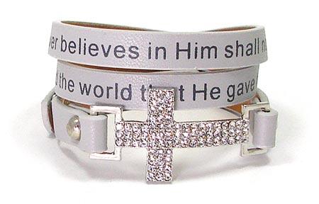 Gray John 3 16 Cross Wrap Bracelet