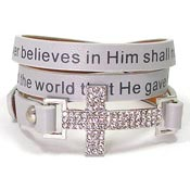 Gray John 3:16 Cross Wrap Bracelet