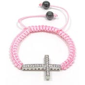 Pink Adjustable Crystal Cross Bracelet