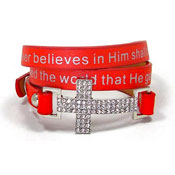 Red John 3:16 Cross Wrap Bracelet