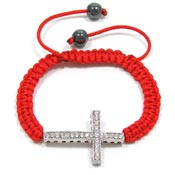 Red Adjustable Crystal Cross Bracelet