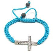 Turquoise Adjustable Crystal Cross Bracelet