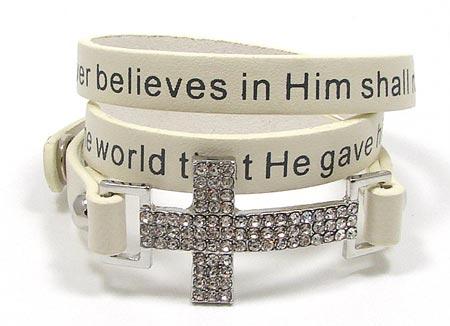 White John 3 16 Cross Wrap Bracelet