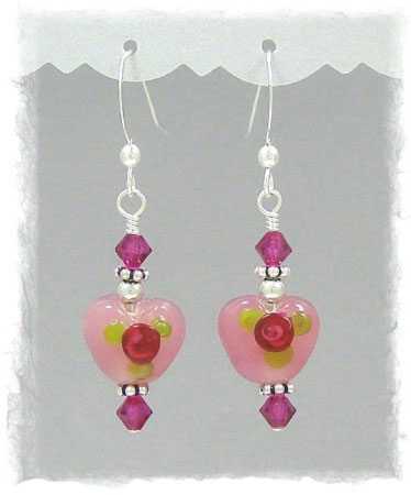 Lampwork Rose Heart Pink Earrings