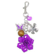 Rose Keychain Or Purse Charm Purple