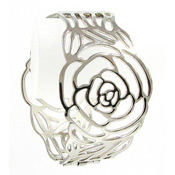 Rose Cutout Hinged Bangle Bracelet