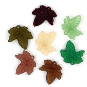 Green Orange And Brown Frosted Acrylic Maple Leaf Charms