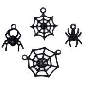 Black Enameled Spider And Web Charm Set